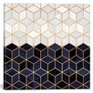 Mercer41 White and Navy Cubes Graphic Art on Wrapped Canvas
