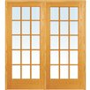 Verona Home Design Wood 2-Panel Natural Interior French Door