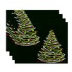 The Holiday Aisle Christmass Tree Geometric Print Placemat (Set of 4)