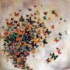 Andover Mills Butterflies on Pale Ochre Canvas Wall Art