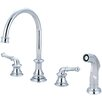 Pioneer Del Mar Double Handle Widespread Standard Kitchen Faucet with Side Spray