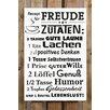 Factory4Home 2-tlg. Schild-Set BD-Rezept für Freude, Typographische Kunst in Weiß