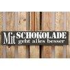 Factory4Home 2-tlg. Schild-Set BD-Mit Schokolade, Typographische Kunst in Schwarz