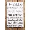 Factory4Home 2-tlg. Schild-Set BD-Hallo komm mal rein, Typographische Kunst in Weiß