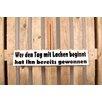 Factory4Home 2-tlg. Schild-Set BD-Wer den Tag mit Lachen beginnt, Typographische Kunst in Weiß