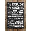 Factory4Home 2-tlg. Schild-Set BD-Rezept für Freude, Typographische Kunst in Schwarz