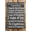 Factory4Home 2-tlg. Schild-Set BD-Recipe for love, Typographische Kunst in Schwarz