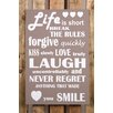 Factory4Home 2-tlg. Schild-Set BD-Life is short, Typographische Kunst in Taupe