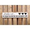 Factory4Home 2-tlg. Schild-Set BD-Liebe ist…, Typographische Kunst in Weiß