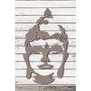 Factory4Home 2-tlg. Schild-Set SH-Buddha head, Grafische Kunst  in Taupe
