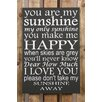 Factory4Home 2-tlg. Schild-Set BD-You are my sunshine, Typographische Kunst in Schwarz