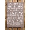Factory4Home 2-tlg. Schild-Set BD-You are my sunshine, Typographische Kunst in Taupe