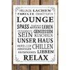 Factory4Home 2-tlg. Schild-Set BD-Lounge Leben Geniessen, Typographische Kunst in Weiß