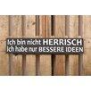 Factory4Home 2-tlg. Schild-Set BD-Ich bin nicht Herrisch, Typographische Kunst in Schwarz