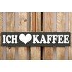 Factory4Home 2-tlg. Schild-Set BD-Ich liebe Kaffee, Typographische Kunst in Schwarz