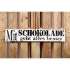 Factory4Home 2-tlg. Schild-Set BD-Mit Schokolade, Typographische Kunst in Weiß