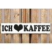Factory4Home 2-tlg. Schild-Set BD-Ich liebe Kaffee, Typographische Kunst in Weiß