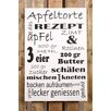 Factory4Home 2-tlg. Schild-Set BD-Apfeltorte, Typographische Kunst in Weiß