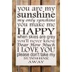 Factory4Home 2-tlg. Schild-Set BD-You are my sunshine, Typographische Kunst in Weiß