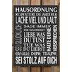 Factory4Home 2-tlg. Schild-Set BD-Hausordnung, Typographische Kunst in Schwarz