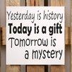 Factory4Home 2-tlg. Schild-Set BD-Yesterday is history, Typographische Kunst in Weiß