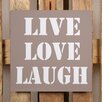 Factory4Home 2-tlg. Schild-Set BD-Live Love Laugh, Typographische Kunst in Taupe