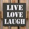 Factory4Home 2-tlg. Schild-Set BD-Live Love Laugh, Typographische Kunst in Schwarz