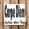 Factory4Home 2-tlg. Schild-Set BD-Carpe Diem, Typographische Kunst in Weiß