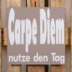 Factory4Home 2-tlg. Schild-Set BD-Carpe Diem, Typographische Kunst in Taupe