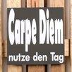 Factory4Home 2-tlg. Schild-Set BD-Carpe Diem, Typographische Kunst in Schwarz