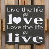 Factory4Home 2-tlg. Schild-Set BD-Live the life, Typographische Kunst in Schwarz