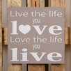 Factory4Home 2-tlg. Schild-Set BD-Live the life, Typographische Kunst in Taupe