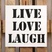 Factory4Home 2-tlg. Schild-Set BD-Live Love Laugh, Typographische Kunst in Weiß
