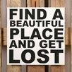 Factory4Home 2-tlg. Schild-Set BD-Find a beautiful place, Typographische Kunst in Weiß