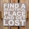 Factory4Home 2-tlg. Schild-Set BD-Find a beautiful place, Typographische Kunst in Taupe