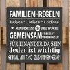 Factory4Home 2-tlg. Schild-Set BD-Familien-Regeln, Typographische Kunst in Schwarz