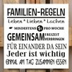 Factory4Home 2-tlg. Schild-Set BD-Familien-Regeln, Typographische Kunst in Weiß