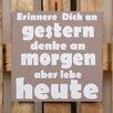 Factory4Home 2-tlg. Schild-Set BD-Erinnere dich an Gestern, Typographische Kunst in Taupe