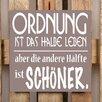 Factory4Home 2-tlg. Schild-Set BD-Ordnung ist das halbe Leben, Typographische Kunst in Taupe