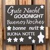 Factory4Home 2-tlg. Schild-Set BD-Gute Nacht, Typographische Kunst in Schwarz