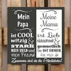 Factory4Home 2-tlg. Schild-Set BD-Mein Papa und meine Mama, Typographische Kunst in Schwarz