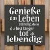 Factory4Home 2-tlg. Schild-Set BD-Geniesse das Leben, Typographische Kunst in Schwarz