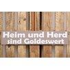 Factory4Home 2-tlg. Schild-Set BD-Heim und Herd, Typographische Kunst in Taupe