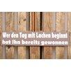 Factory4Home 2-tlg. Schild-Set BD-Wer den Tag mit Lachen beginnt, Typographische Kunst in Taupe