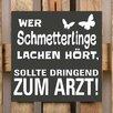 Factory4Home 2-tlg. Schild-Set BD-Wer Schmetterlinge lache hört, Typographische Kunst in Schwarz