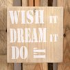 Factory4Home 2-tlg. Schild-Set BD-Wish it, Typographische Kunst