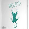 Cut It Out Wall Stickers Help Cat Falling Door Room Wall Sticker