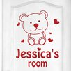 Cut It Out Wall Stickers Personalised Cute Teddy Bear Kids Door Room Wall Sticker