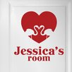 Cut It Out Wall Stickers Personalised Flamingo Love Heart Door Room Wall Sticker