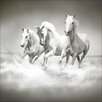 Pro-Art White Horses Painting Print Glass Art